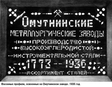 13 Фасонные профили освоенные на заводе 1936 год
